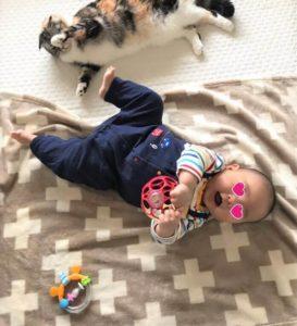 生後3か月のハンドリガードとおもちゃ